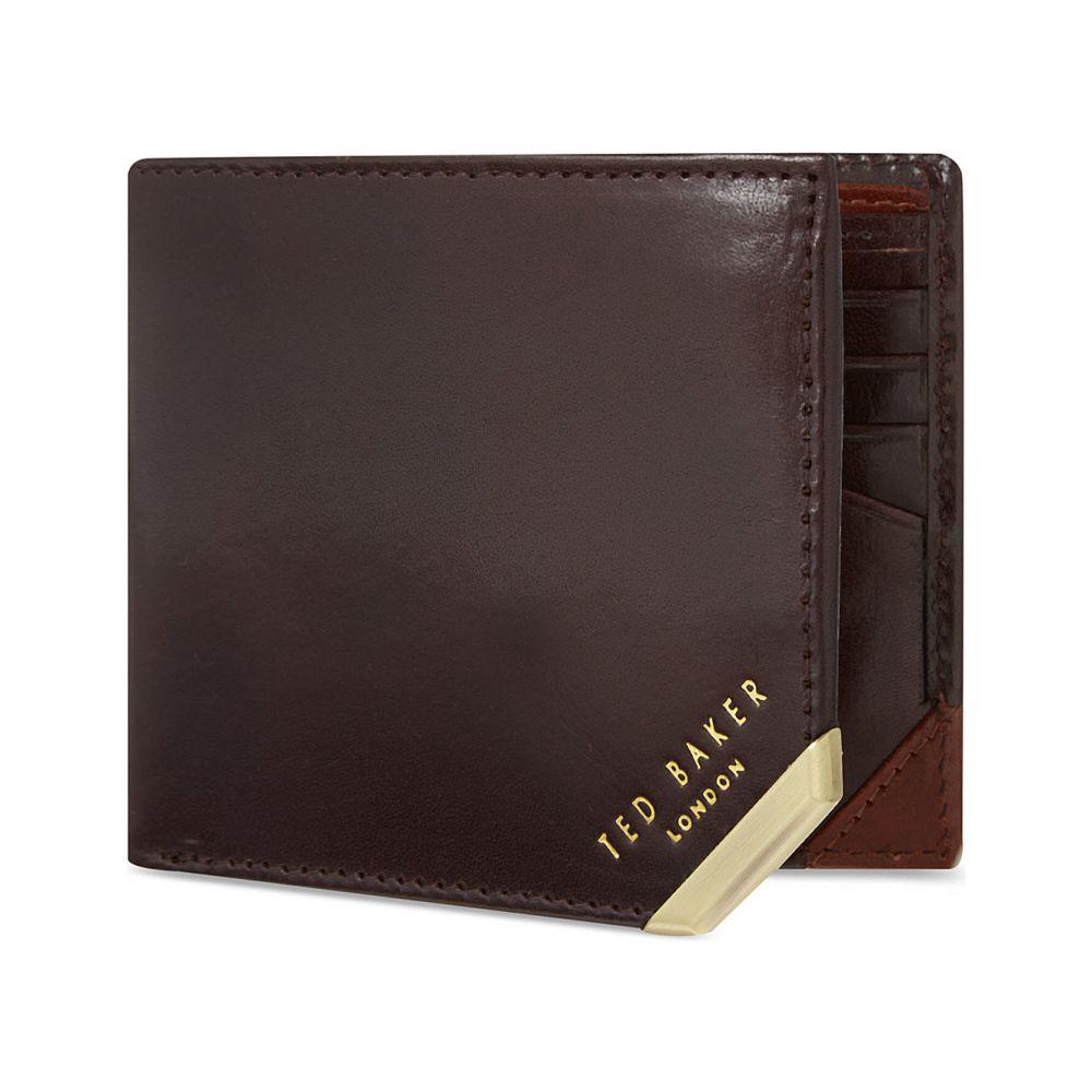 テッドベーカー ted baker メンズ 財布【metal corner wallet】Chocolate