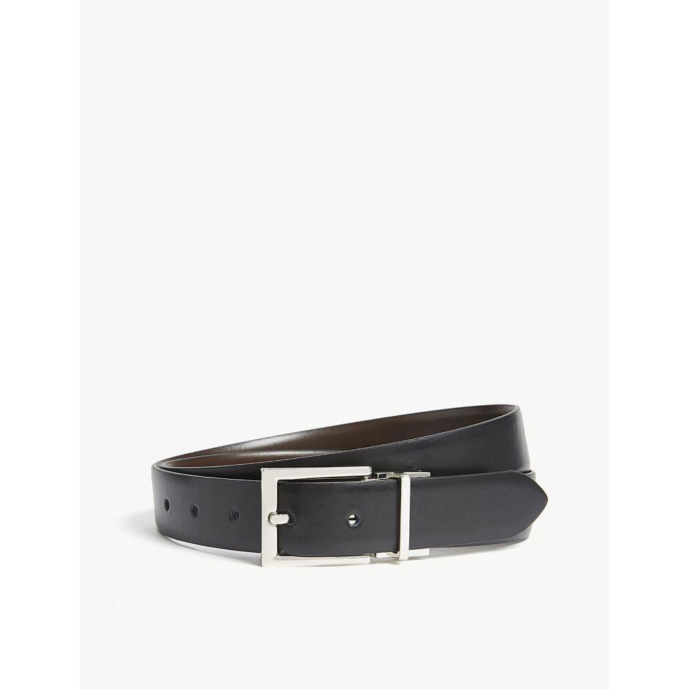 リース reiss メンズ ベルト【ricky reversible leather belt】Black/dark brow