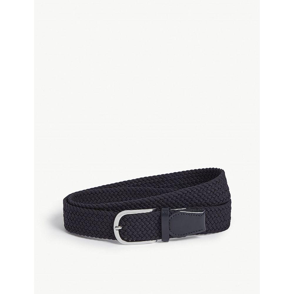 リース reiss メンズ ベルト【elmont woven belt】Navy