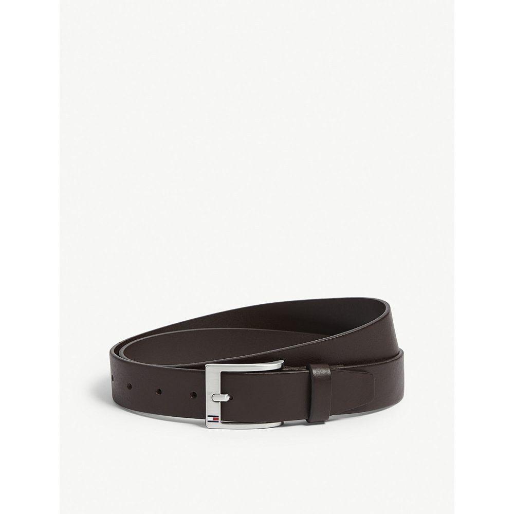 トミー ヒルフィガー tommy hilfiger メンズ ベルト【logo buckle leather belt】Testa di moro