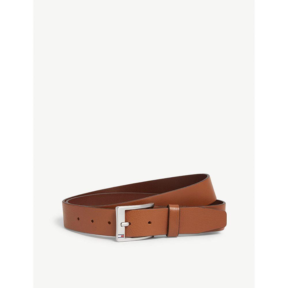 トミー ヒルフィガー tommy hilfiger メンズ ベルト【logo buckle leather belt】Dark tan