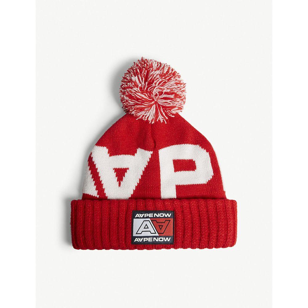 エーエイプ aape レディース 帽子【logo knitted hat】Red