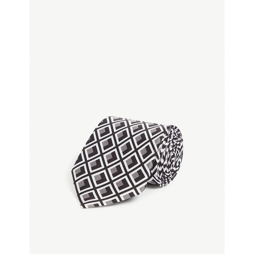 リース reiss メンズ ネクタイ【maguire art deco diamond silk tie】Black/grey