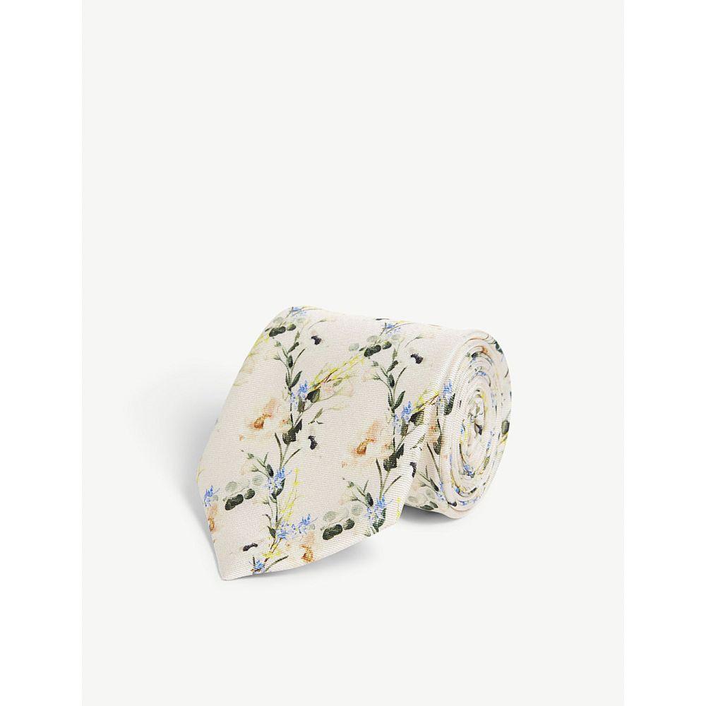 テッドベーカー ted baker メンズ ネクタイ【hyatie floral-print silk tie】Ecru