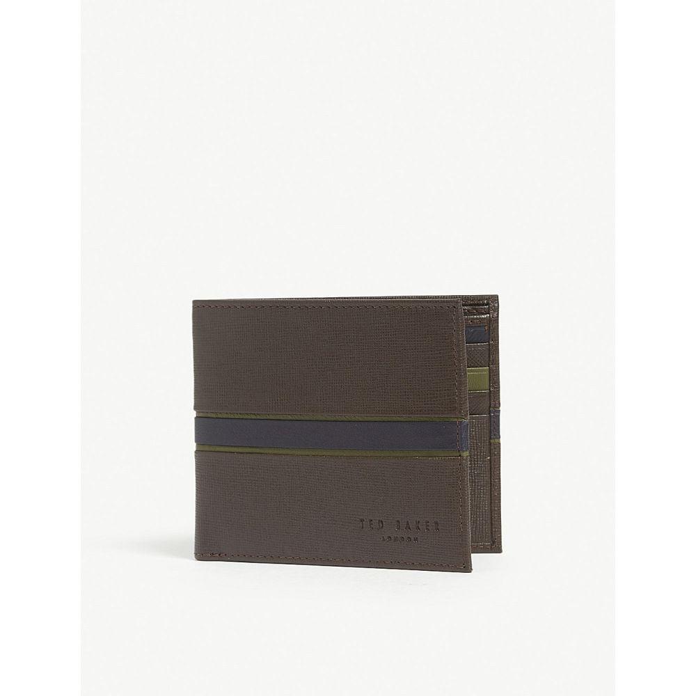 テッドベーカー ted baker メンズ 財布【musta striped leather billfold wallet】Xchocolate