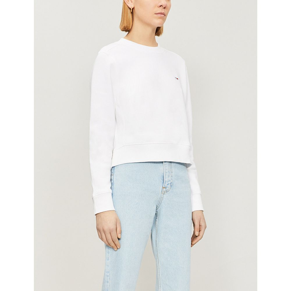 トミー ジーンズ tommy jeans レディース トップス スウェット・トレーナー【logo-embroidered cotton-jersey sweatshirt】Classic white