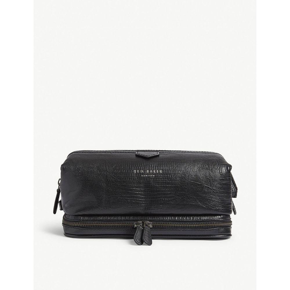テッドベーカー ted baker メンズ ポーチ【bublay lizard-embossed leather washbag】Black