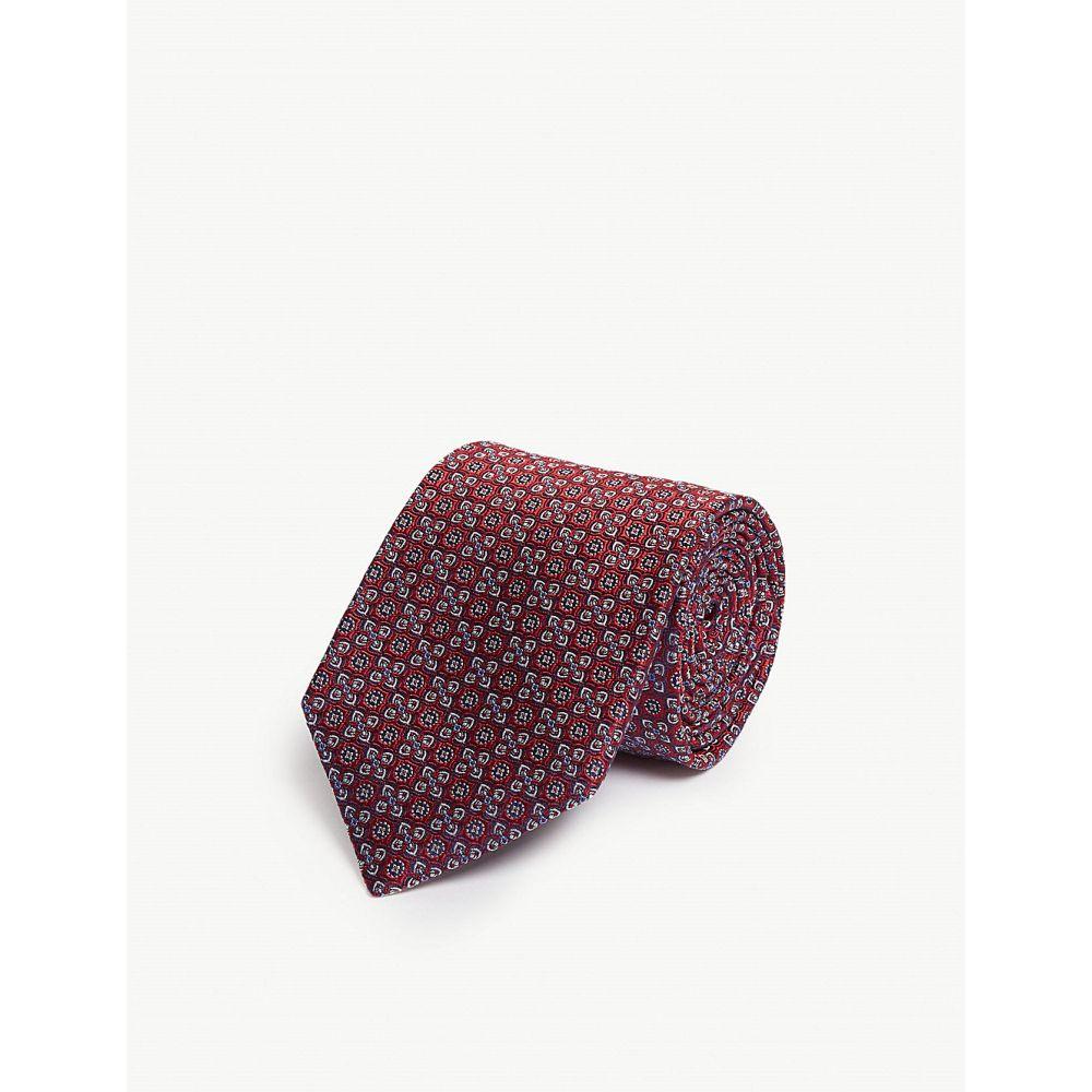 イートン eton メンズ ネクタイ【silk patterned tie】Pink/red
