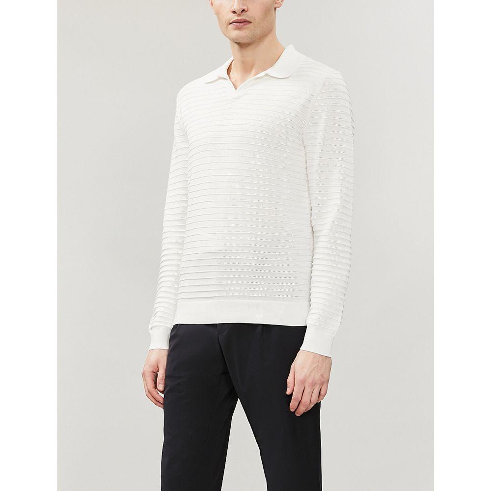 リース reiss メンズ トップス ポロシャツ【patterson cotton-knit polo shirt】White