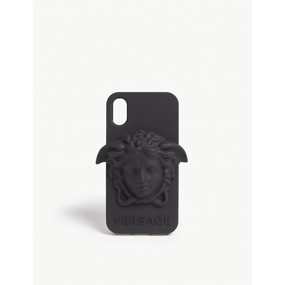 ヴェルサーチ versace メンズ iPhone (X)ケース【medusa logo silicone iphone x case】Black