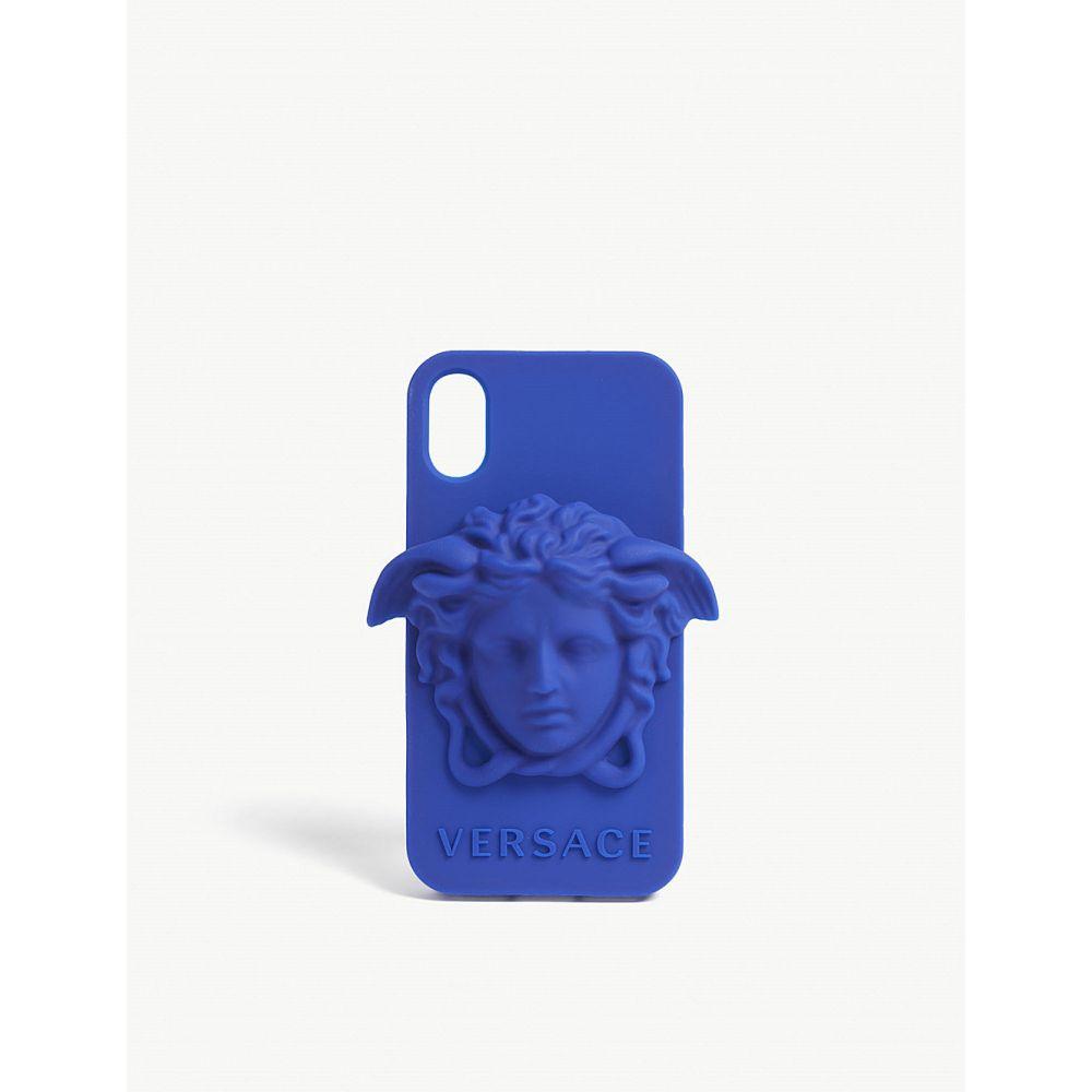 ヴェルサーチ versace メンズ iPhone (X)ケース【medusa logo silicone iphone x case】Light blue