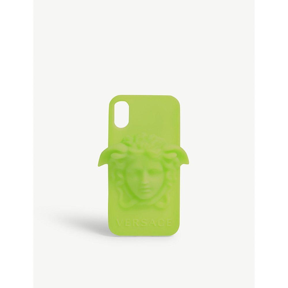 ヴェルサーチ versace メンズ iPhone (X)ケース【medusa logo silicone iphone x case】Neon green