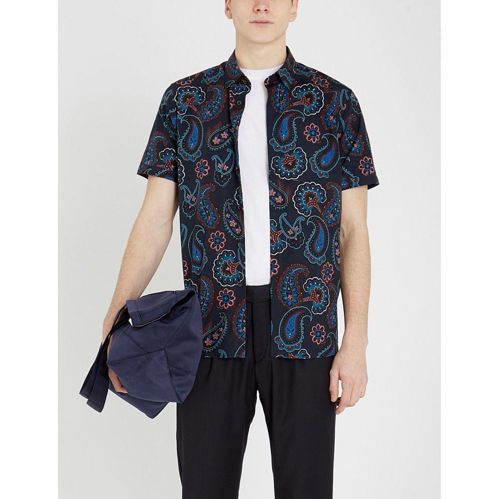 テッドベーカー ted baker メンズ トップス 半袖シャツ【dogg paisley cotton shirt】Navy