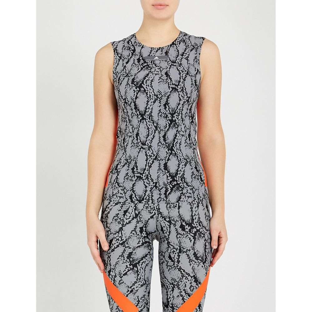 アディダス adidas by stella mccartney レディース トップス タンクトップ【alphaskin snake-print stretch-jersey top】Grey black