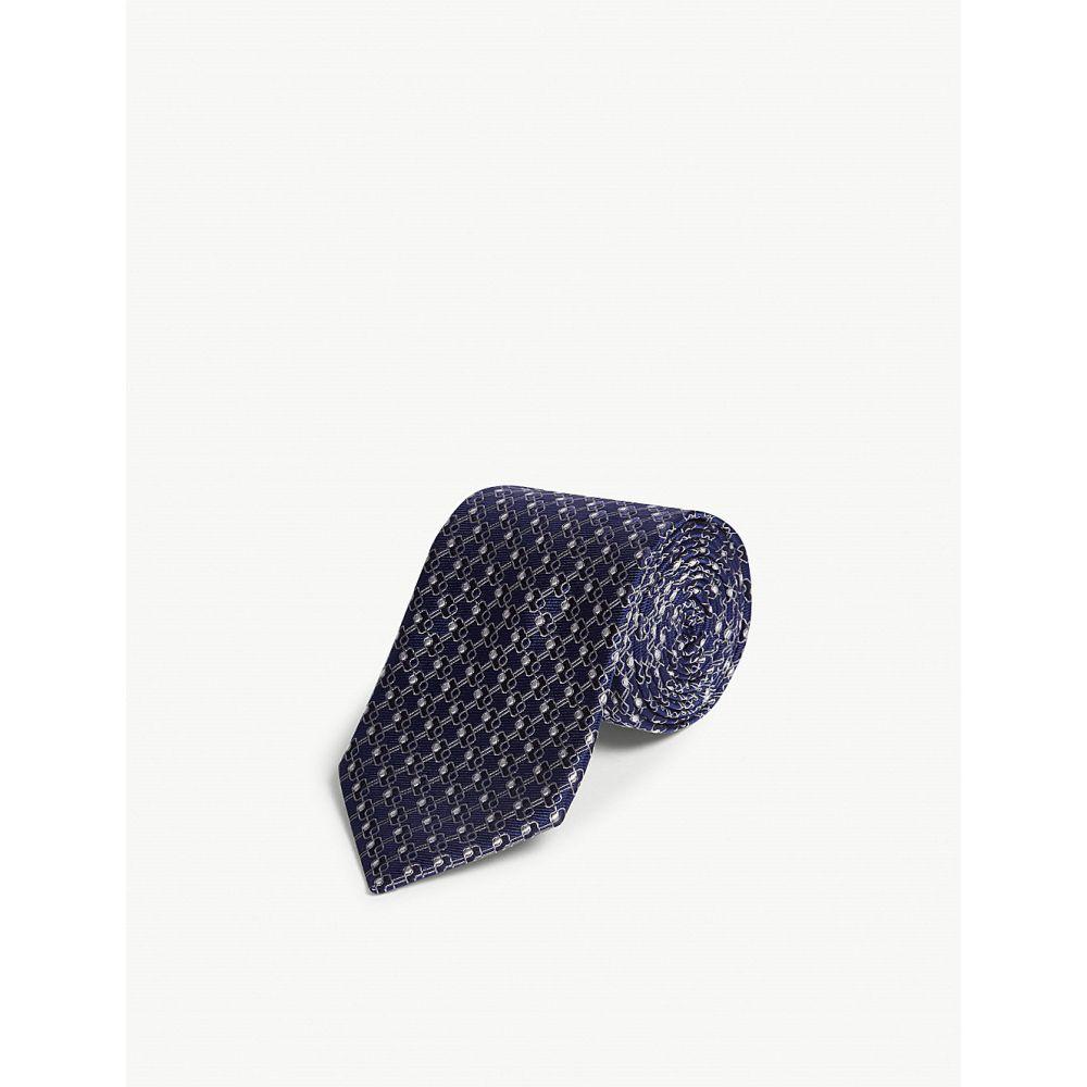 ランバン lanvin メンズ ネクタイ【tonal rectangle silk tie】Navy