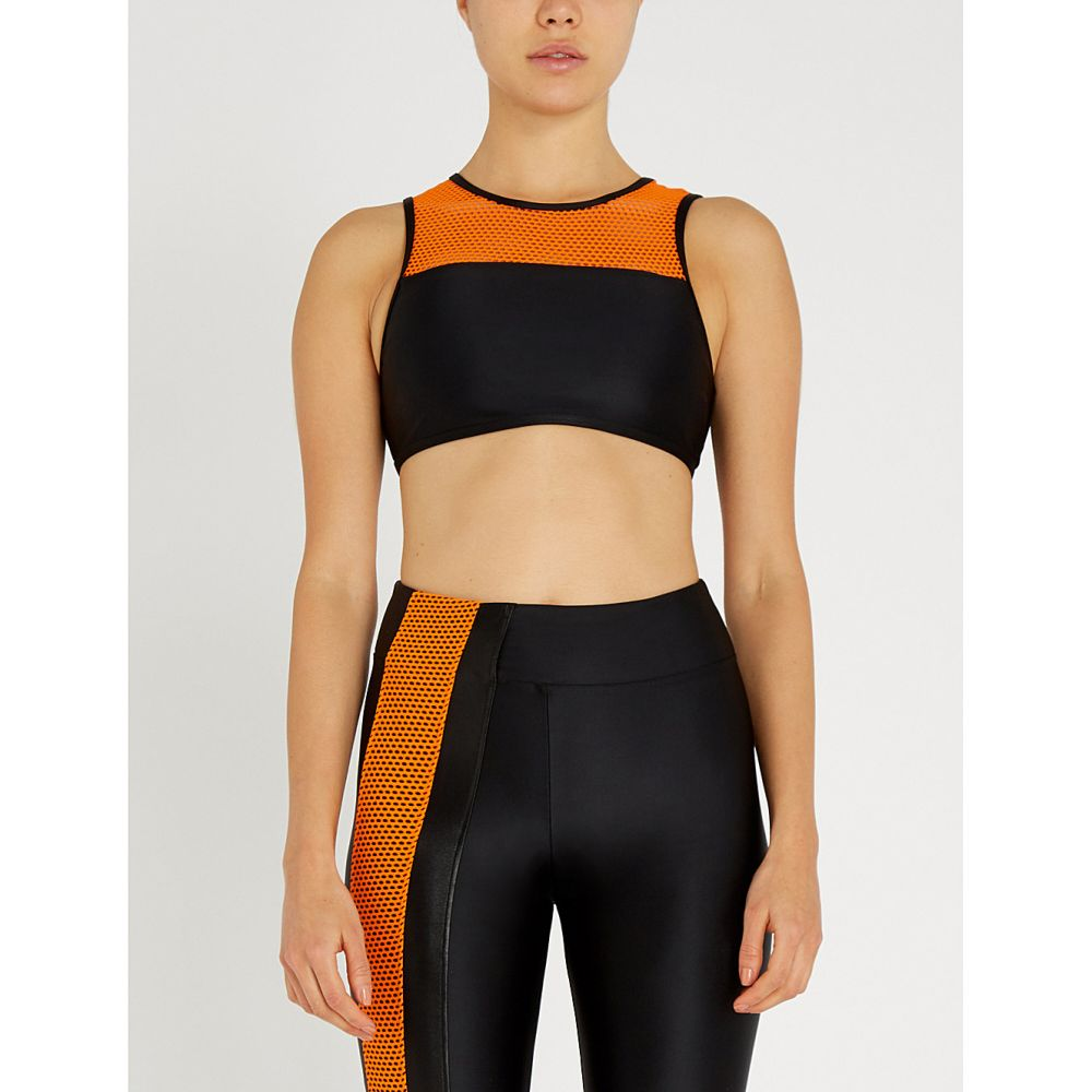 コラール koral レディース インナー・下着 スポーツブラ【rotation versatility mesh-panelled stretch sports bra】Black jasper orange