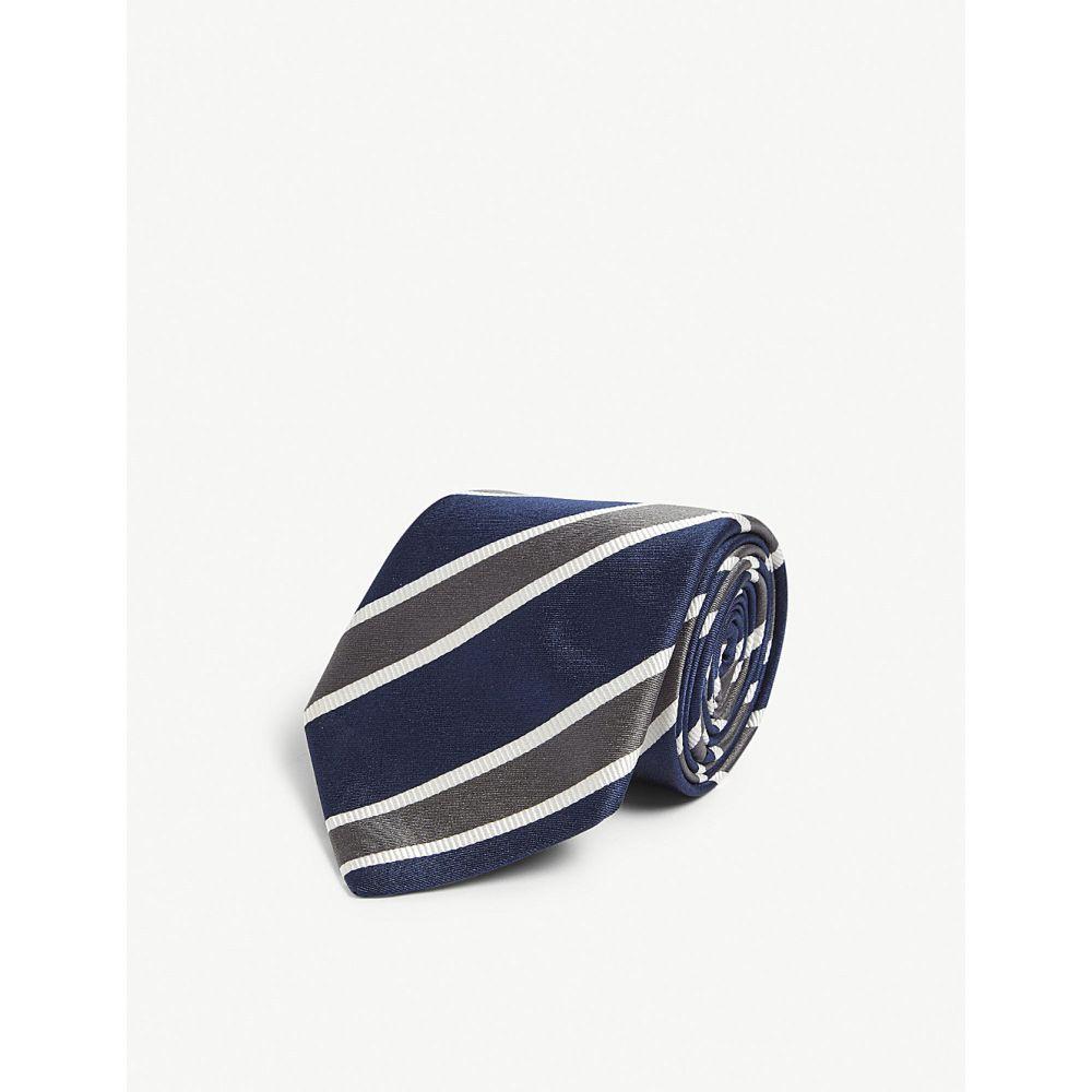 ビギ クラバッテ bigi cravatte メンズ ネクタイ【striped silk tie】Navy