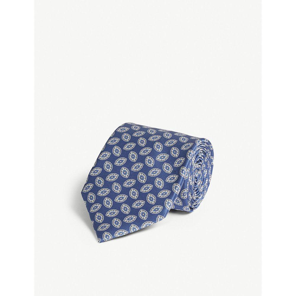 コルネリアーニ corneliani メンズ ネクタイ【oval flower print silk tie】Blue