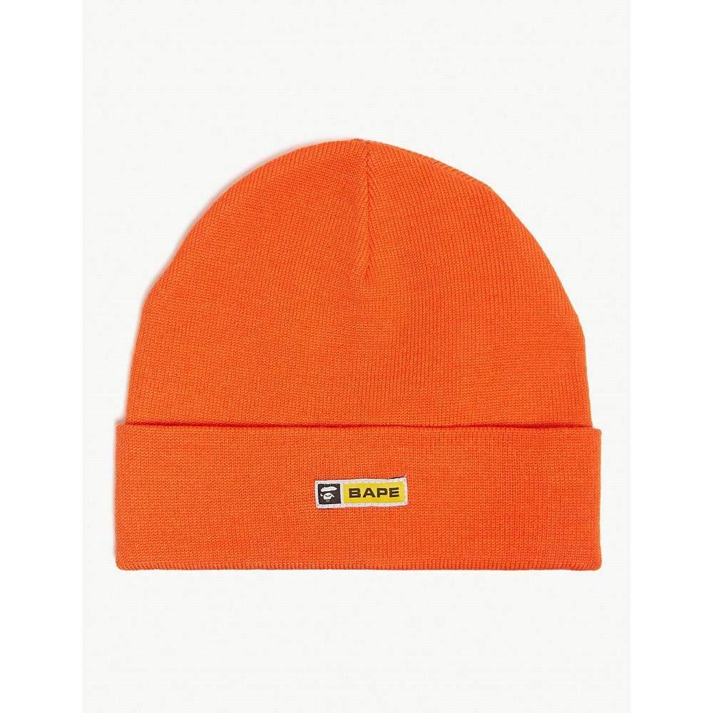 ア ベイシング エイプ a bathing ape メンズ 帽子 ニット【logo wool-blend beanie】Orange