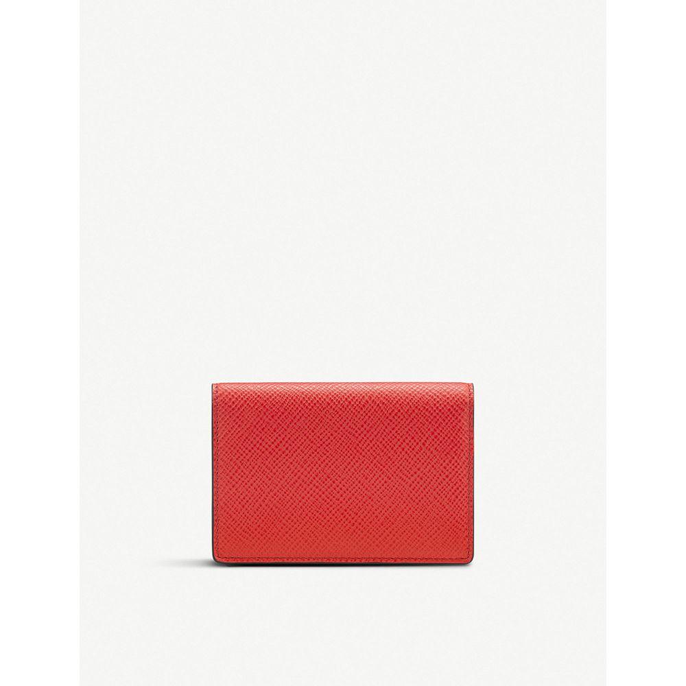 スマイソン smythson レディース カードケース・名刺入れ【panama leather business and credit card case】Red