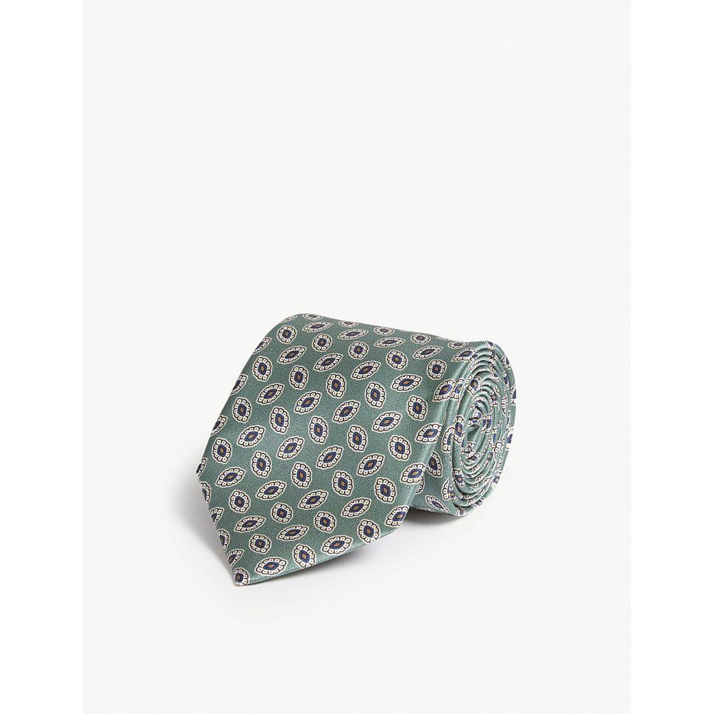 コルネリアーニ corneliani メンズ ネクタイ【oval flower print silk tie】Teal