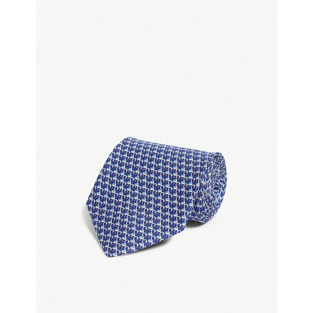 サルヴァトーレ フェラガモ salvatore ferragamo メンズ ネクタイ【flamingo silk tie】Bluette grigio