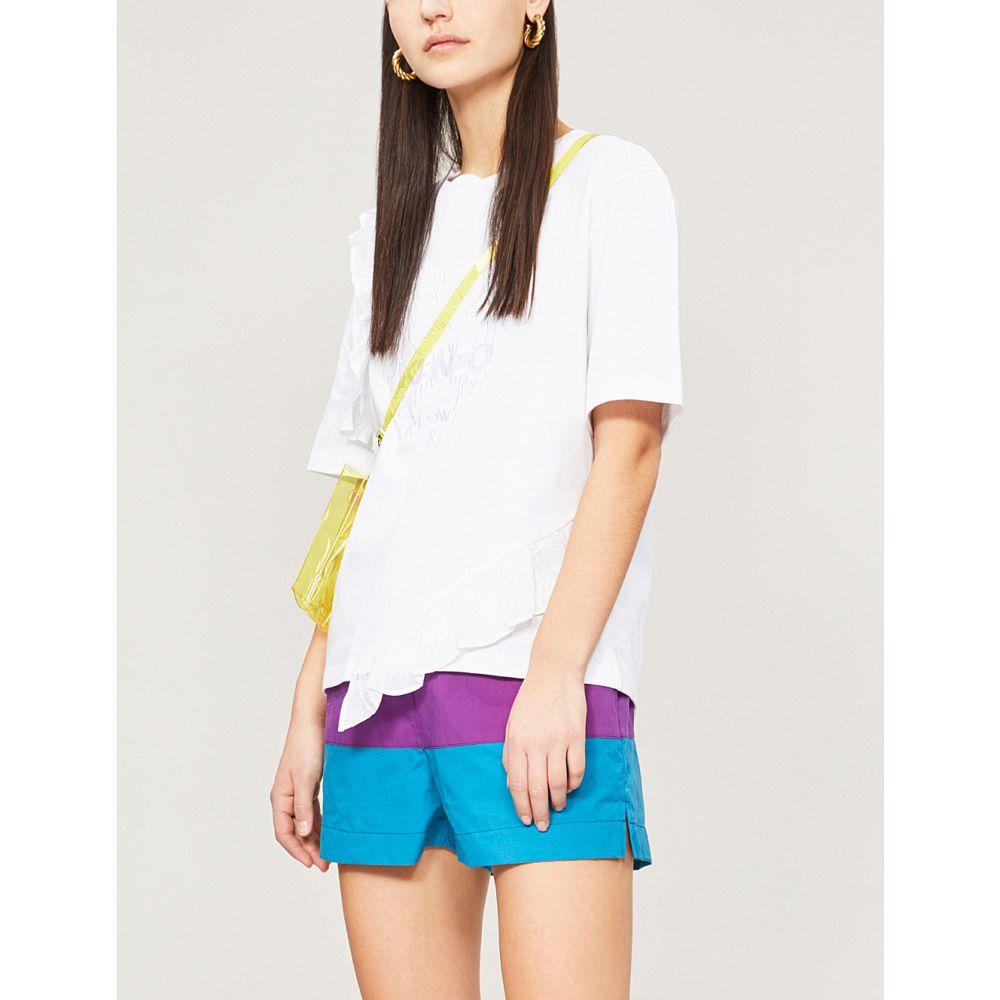 ケンゾー kenzo レディース トップス Tシャツ【tiger ruffled cotton-jersey t-shirt】White
