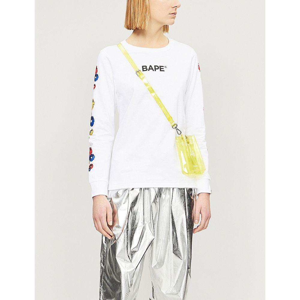 ベイプ bape レディース トップス【floral ape-print cotton-jersey top】White