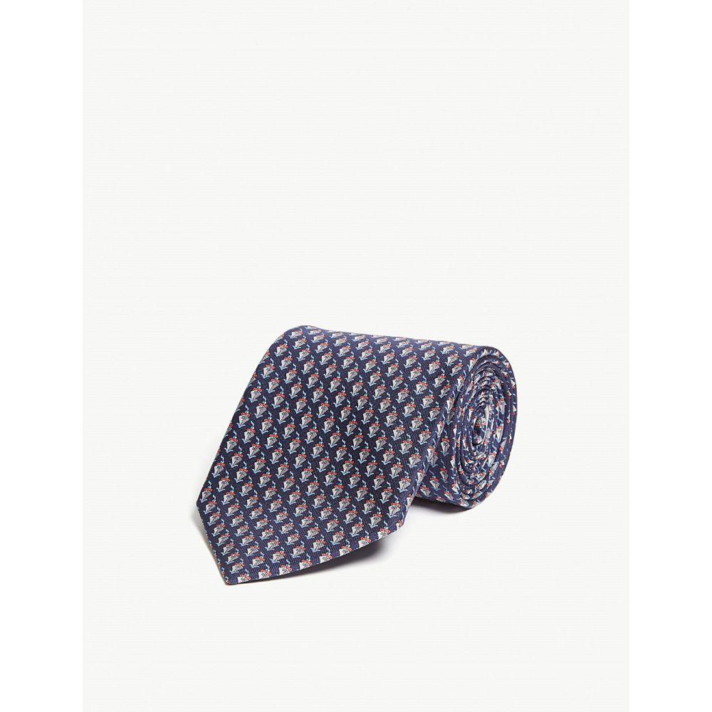 サルヴァトーレ フェラガモ salvatore ferragamo メンズ ネクタイ【ship silk tie】Blue