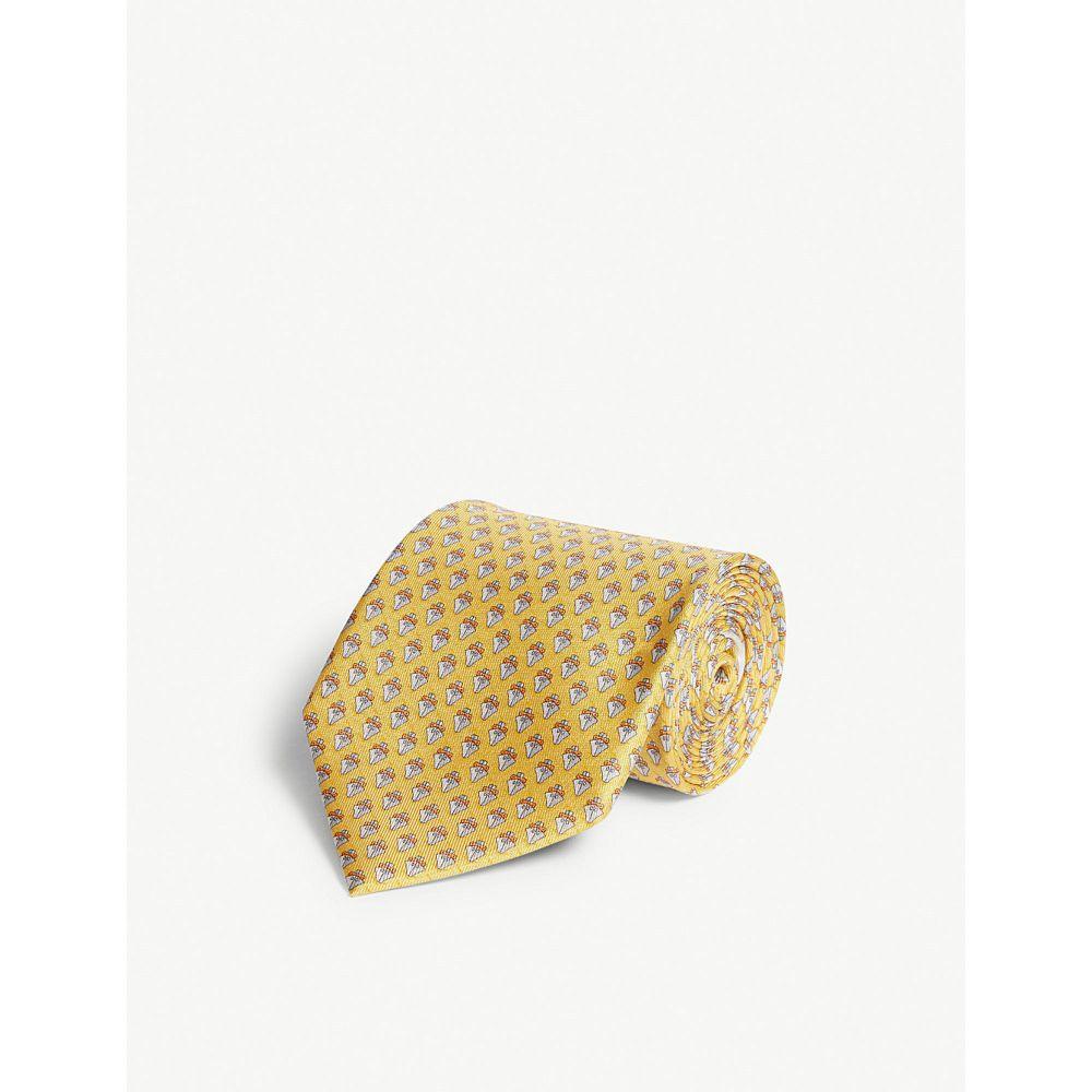 サルヴァトーレ フェラガモ salvatore ferragamo メンズ ネクタイ【ship silk tie】Yellow