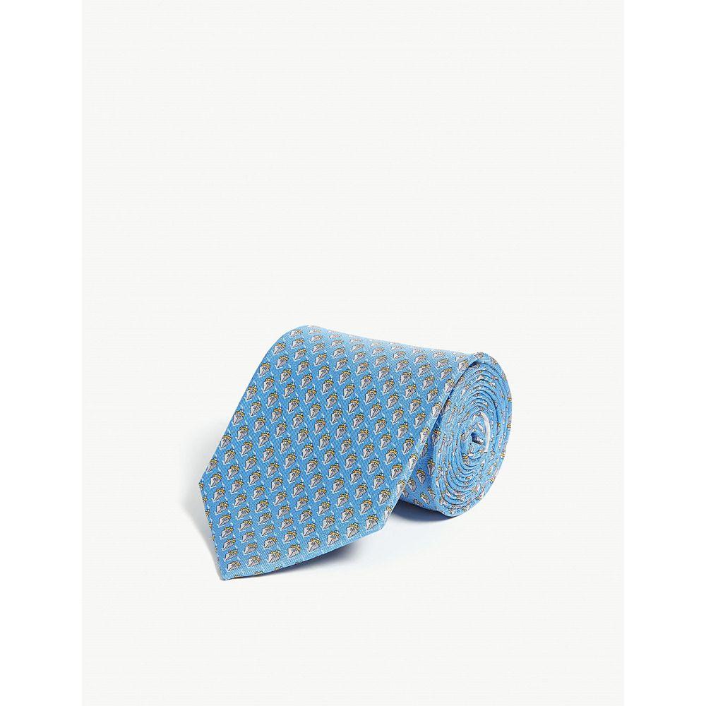 サルヴァトーレ フェラガモ salvatore ferragamo メンズ ネクタイ【ship silk tie】Lt blue