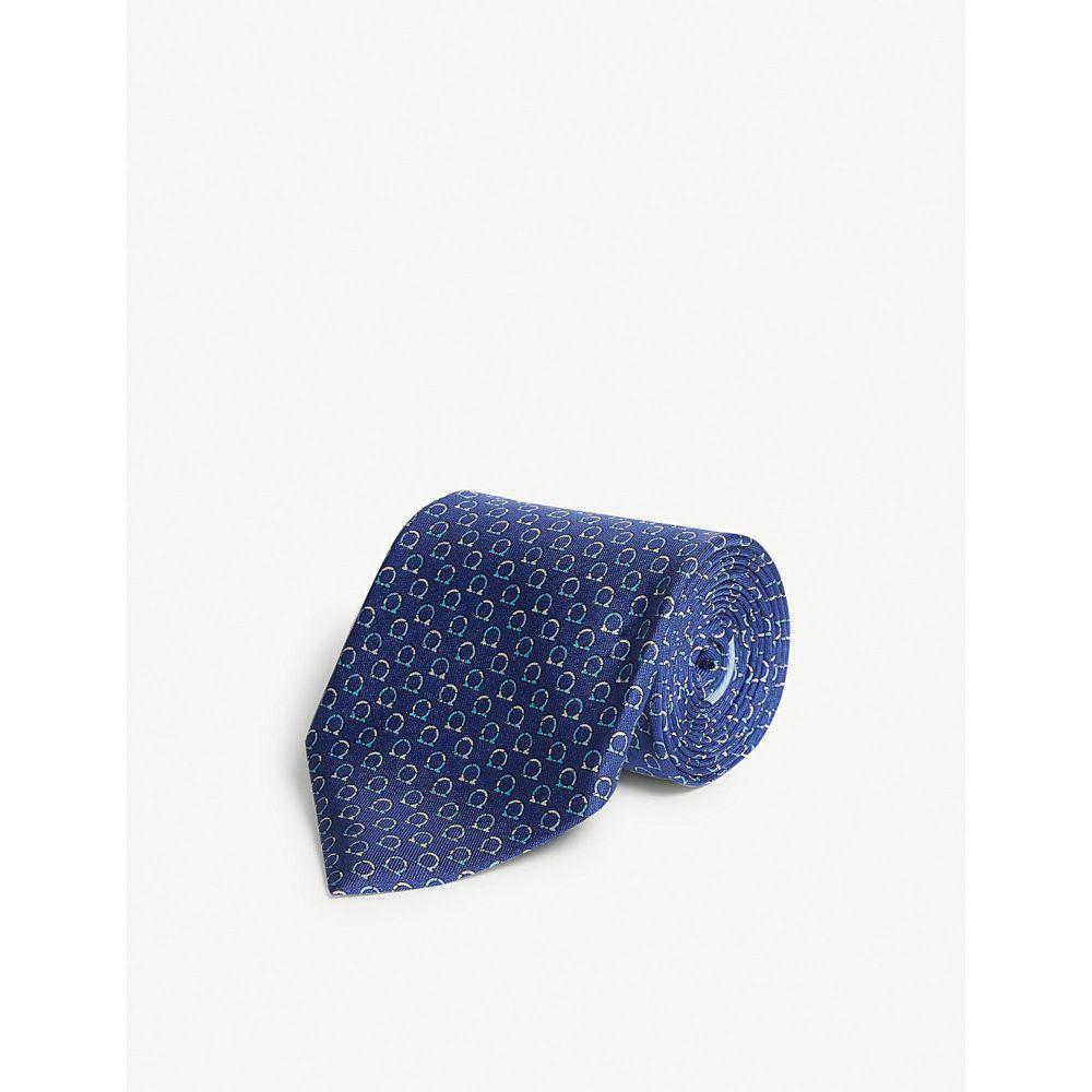 サルヴァトーレ フェラガモ salvatore ferragamo メンズ ネクタイ【logo-print silk tie】Blue