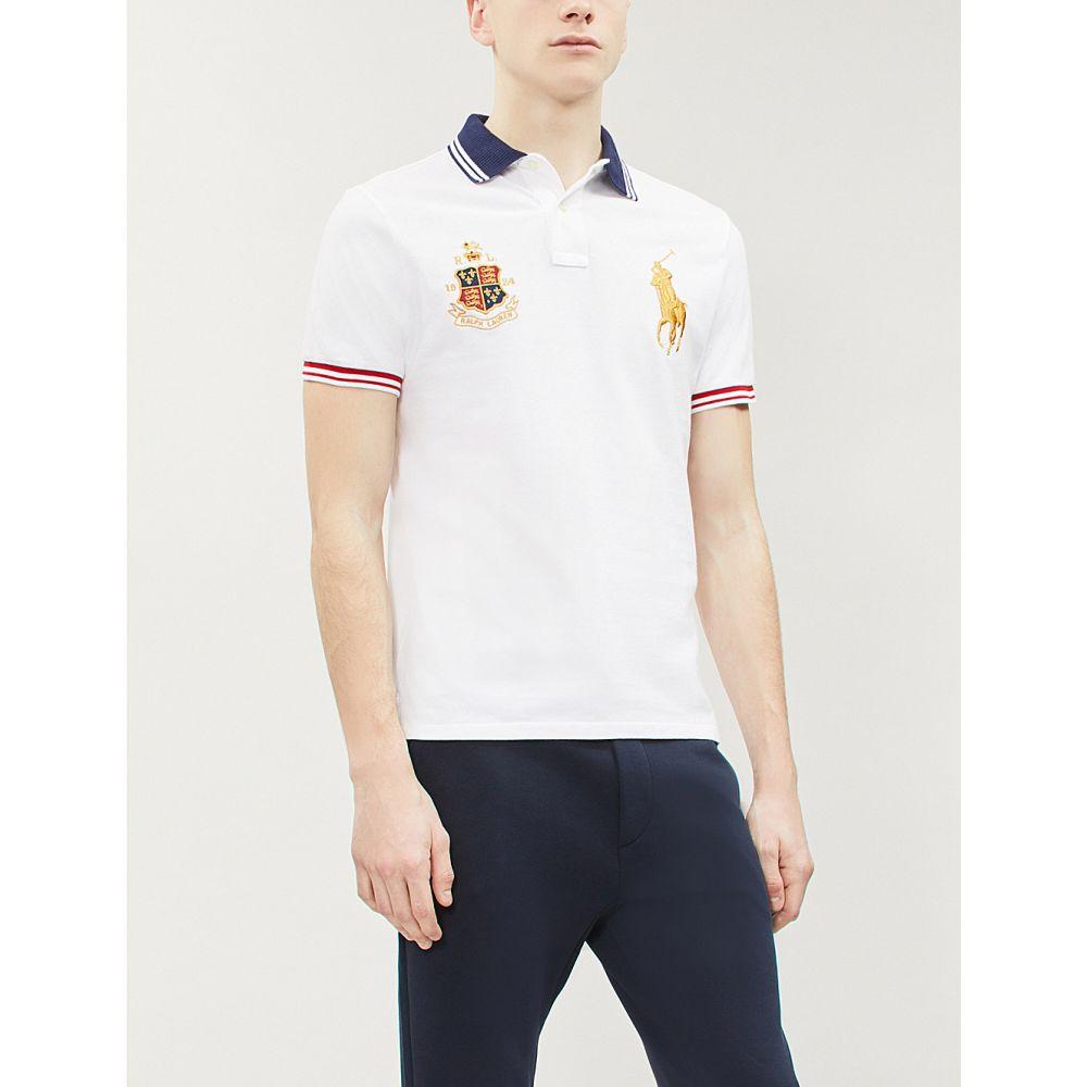 ラルフ ローレン polo ralph lauren メンズ トップス ポロシャツ【contrast-trim logo-embroidered cotton polo shirt】White