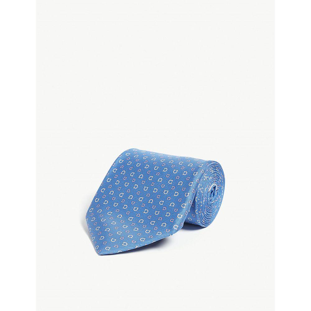 サルヴァトーレ フェラガモ salvatore ferragamo メンズ ネクタイ【logo silk tie】Bluette rosa