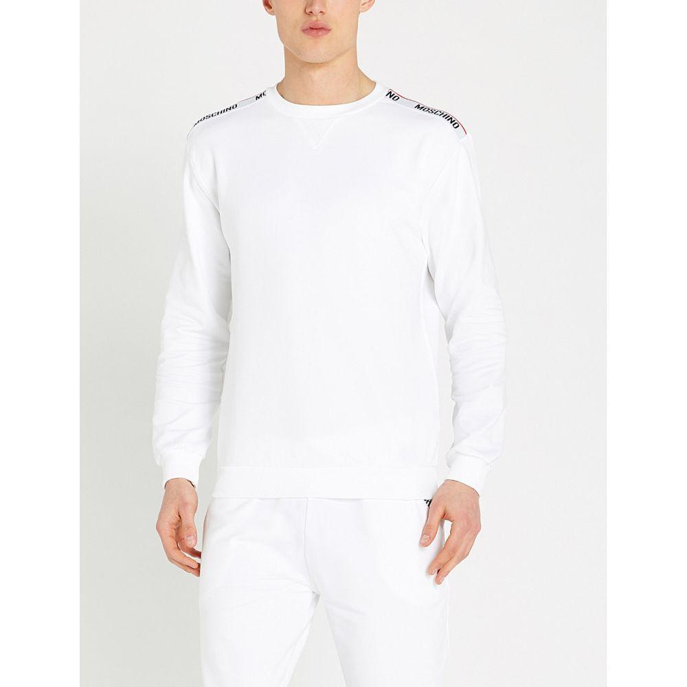 モスキーノ moschino メンズ トップス スウェット・トレーナー【logo-tape cotton-jersey sweatshirt】White