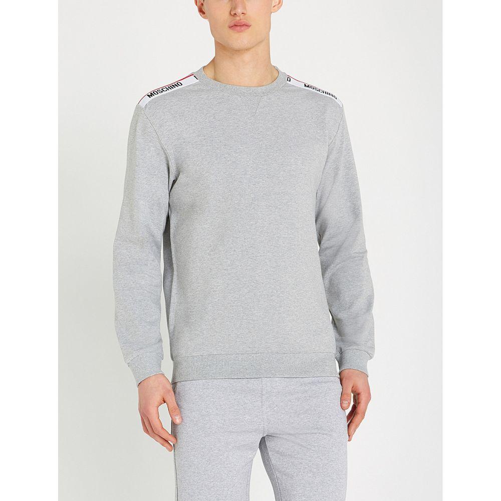 モスキーノ moschino メンズ トップス スウェット・トレーナー【logo-tape cotton-jersey sweatshirt】Grey