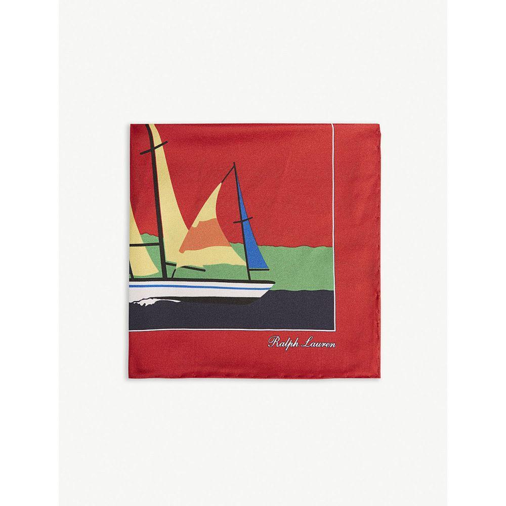 ラルフ ローレン ralph lauren purple label メンズ ハンカチ・チーフ【sailing boat pocket square】Red