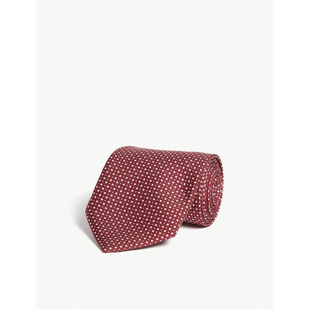 コルネリアーニ corneliani メンズ ネクタイ【dot and diamond print silk tie】Red