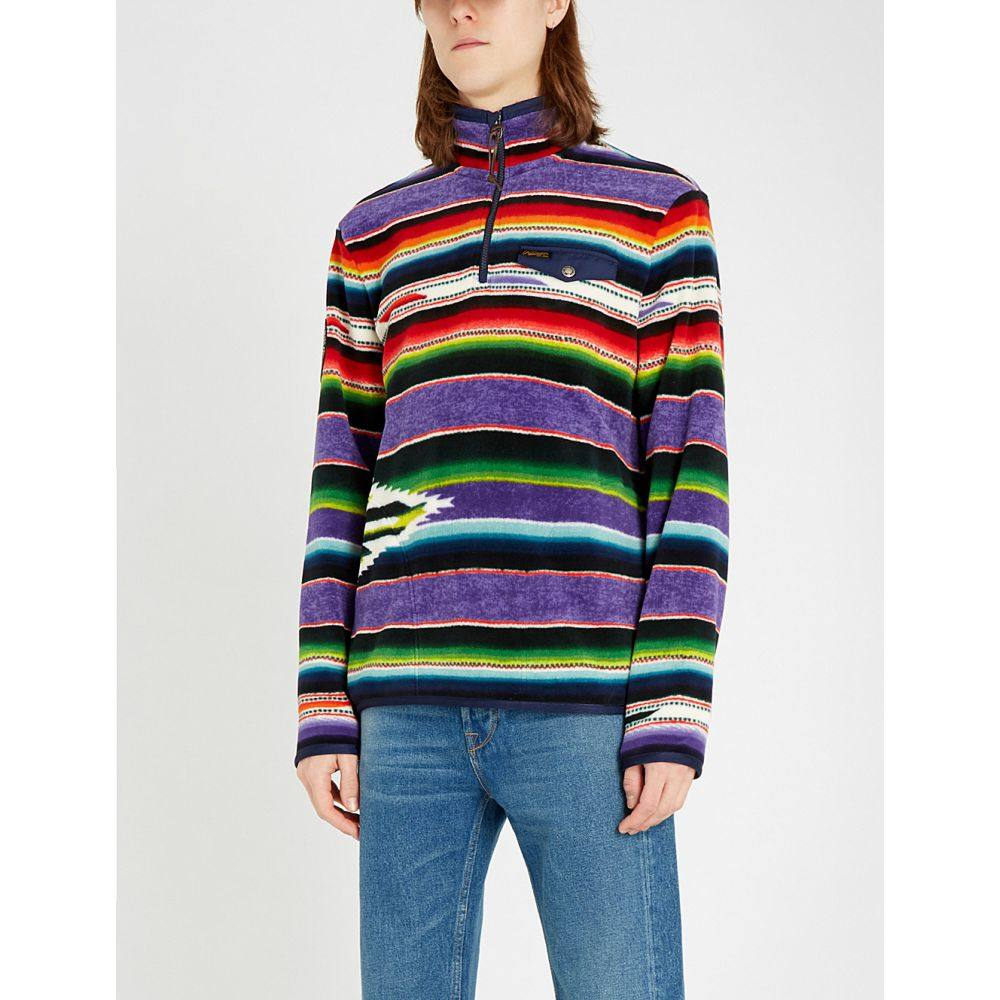 ラルフ ローレン polo ralph lauren メンズ トップス スウェット・トレーナー【striped funnel-neck fleece sweatshirt】Purple serape multi