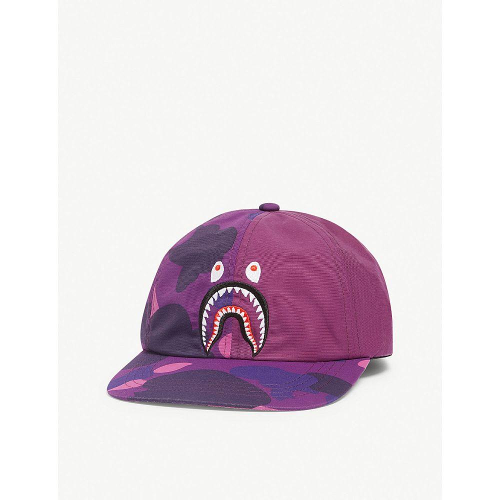ア ベイシング エイプ a bathing ape メンズ 帽子 キャップ【shark face camouflage cap】Purple