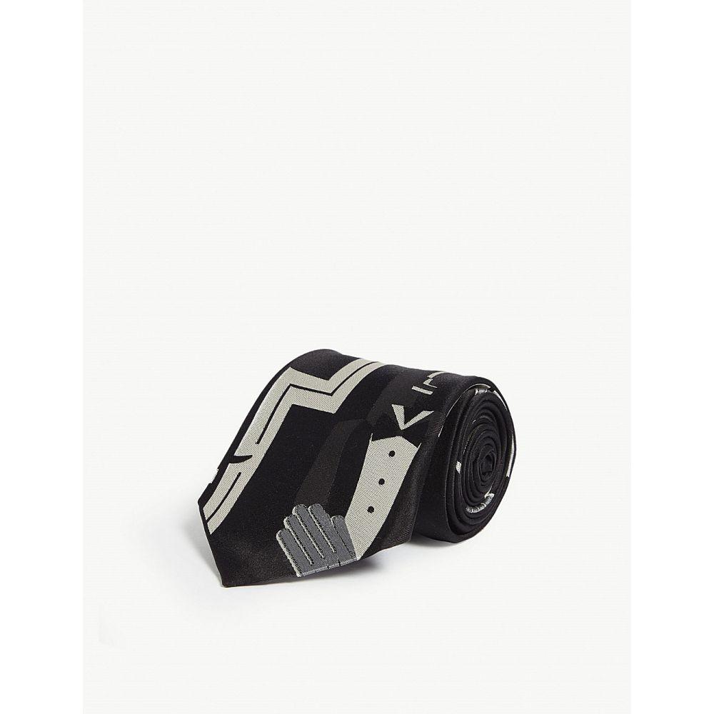 ラルフ ローレン ralph lauren purple label メンズ ネクタイ【top hat man silk tie】Black/white