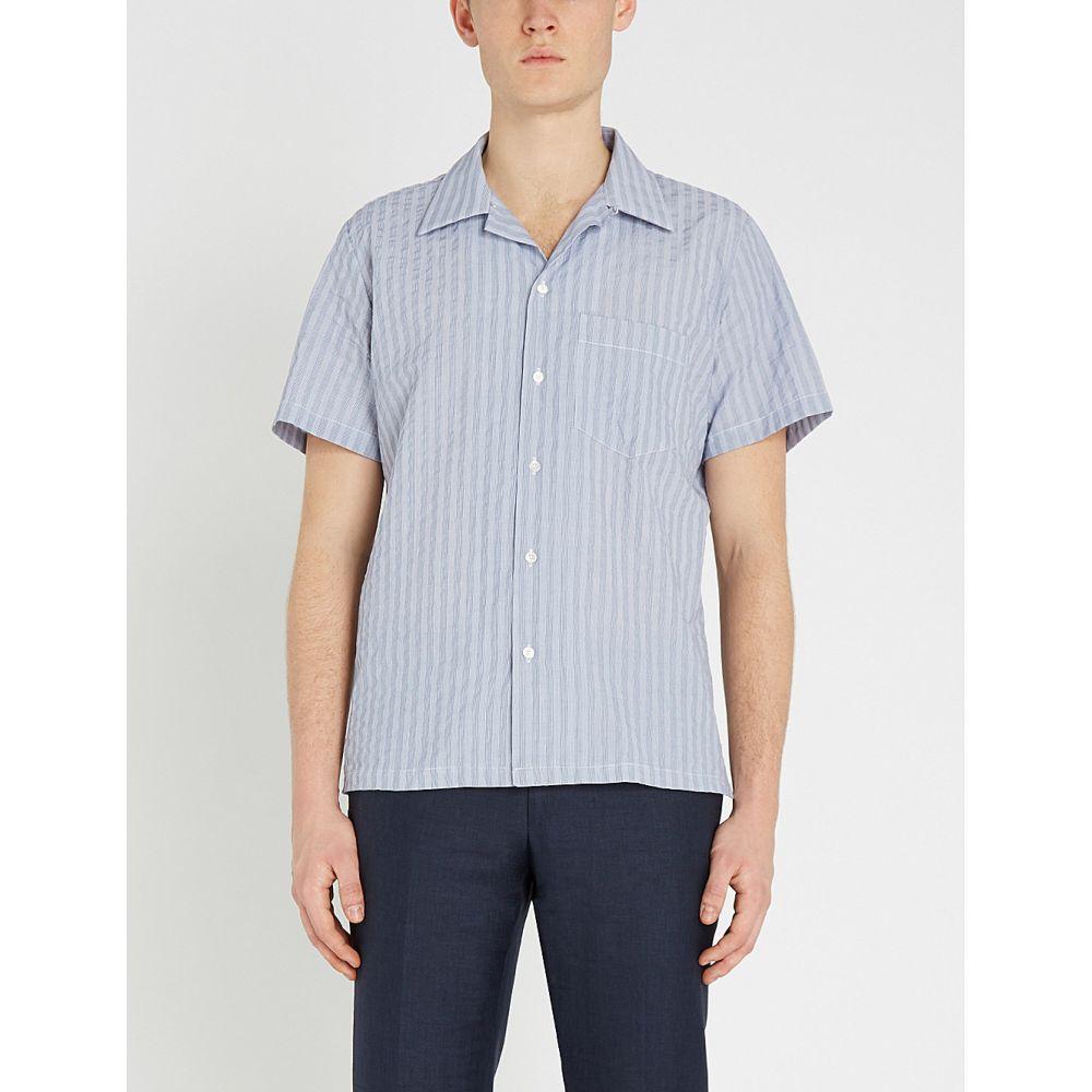 リチャード ジェームス richard james メンズ トップス 半袖シャツ【classic-fit cotton shirt】Washed denim