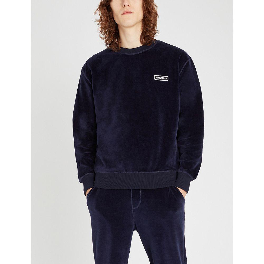 エーエムアイ ami メンズ トップス スウェット・トレーナー【logo-patch velour sweatshirt】Navy