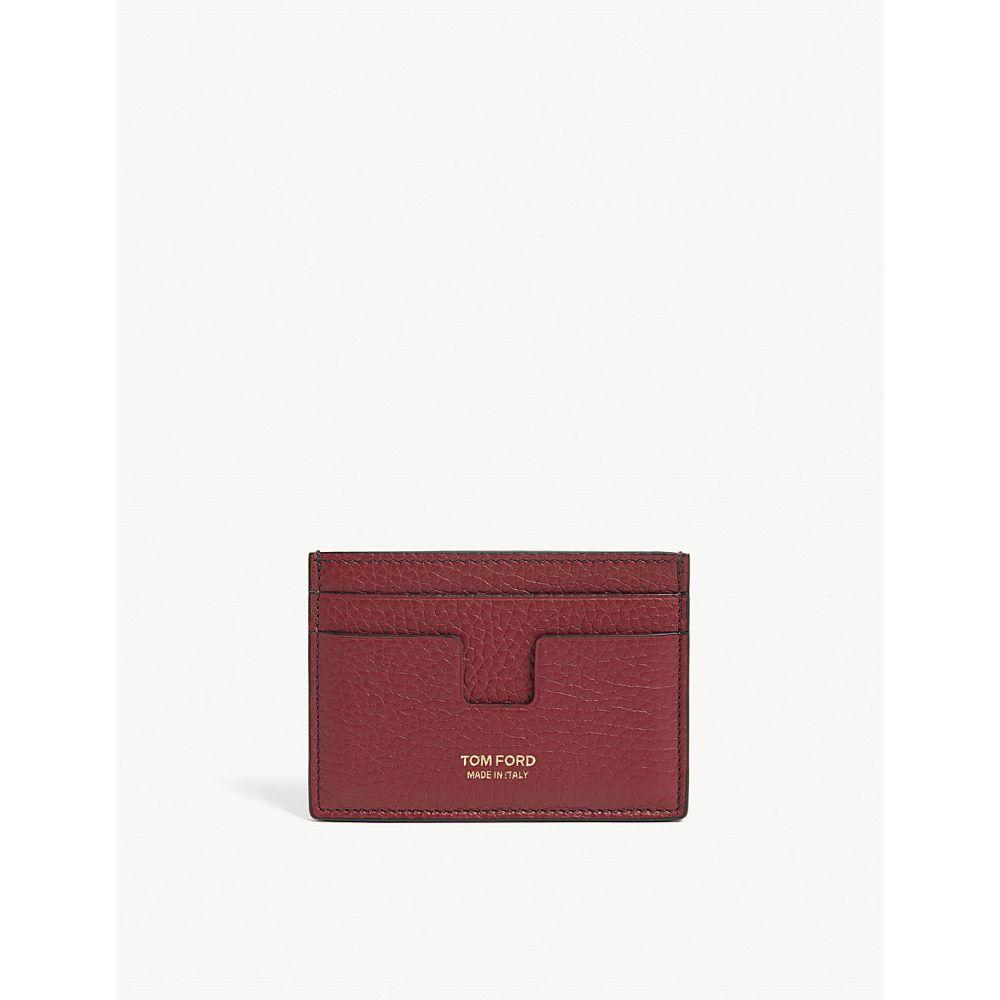 トム フォード tom ford メンズ カードケース・名刺入れ【t-cut leather card holder】Cherry