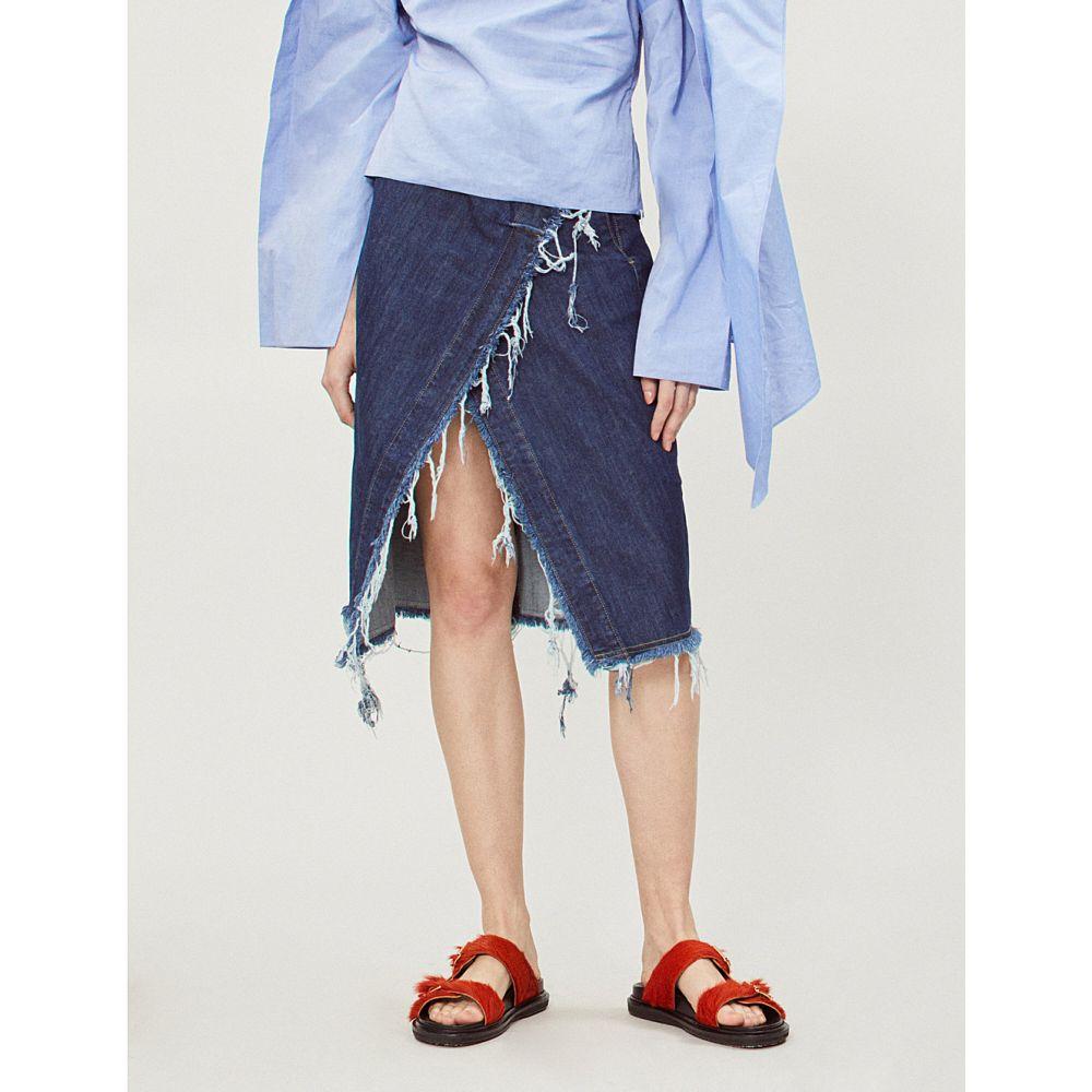 KITX レディース スカート【conservation high-waist asymmetric frayed denim skirt】Blue