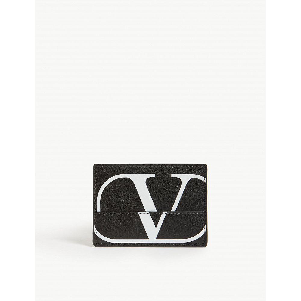 ヴァレンティノ valentino メンズ カードケース・名刺入れ【logo leather card holder】Black white