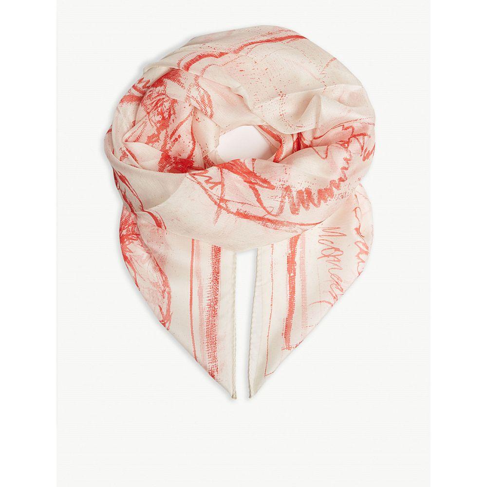アレキサンダー マックイーン alexander mcqueen メンズ マフラー・スカーフ・ストール【skull-print silk scarf】Ivory red