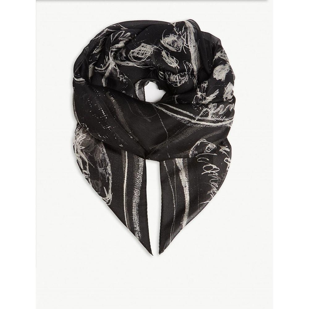 アレキサンダー マックイーン alexander mcqueen メンズ マフラー・スカーフ・ストール【skull-print silk scarf】Black ivory
