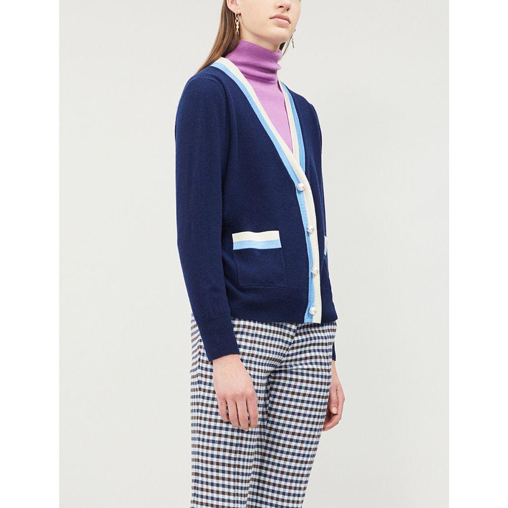 サンドロ sandro レディース トップス カーディガン【trimmed wool-cashmere blend cardigan】Navy blue
