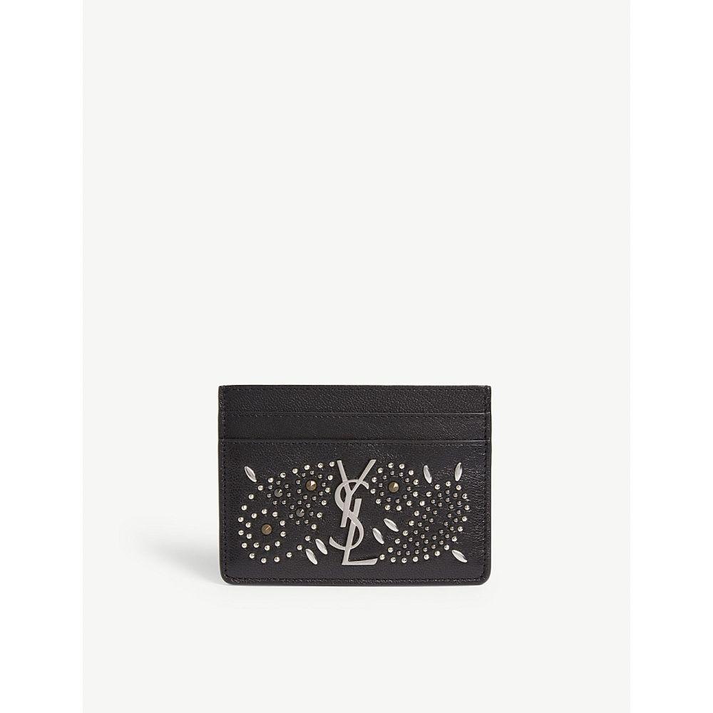 イヴ サンローラン saint laurent レディース カードケース・名刺入れ【monogram studded leather card holder】Black